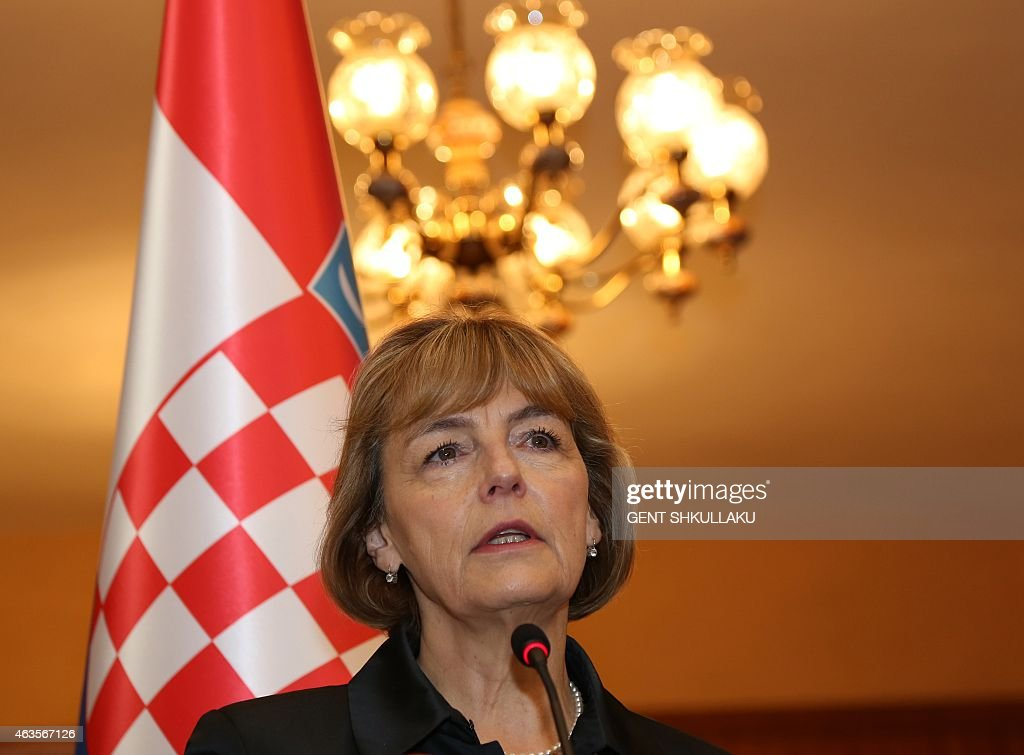 Croatia's Foreign minister Vesna Pusic delivers a speech during a press conference with her Albanian counterpart following their meeting in Tirana on February 16, 2015.