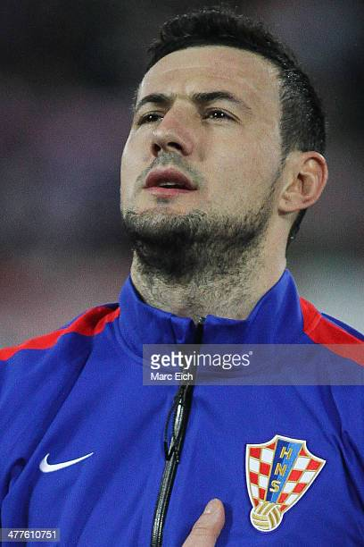 Croatia's goalkeeper Danijel Subasic stands for the national anthem prior the international friendly match between Switzerland and Croatia at the AFG...