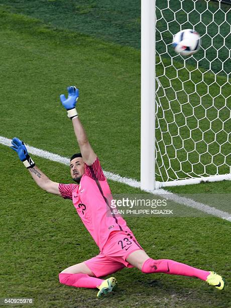 Croatia's goalkeeper Ivan Vargic misses a penalty kick during the Euro 2016 group D football match between Czech Republic and Croatia at the...