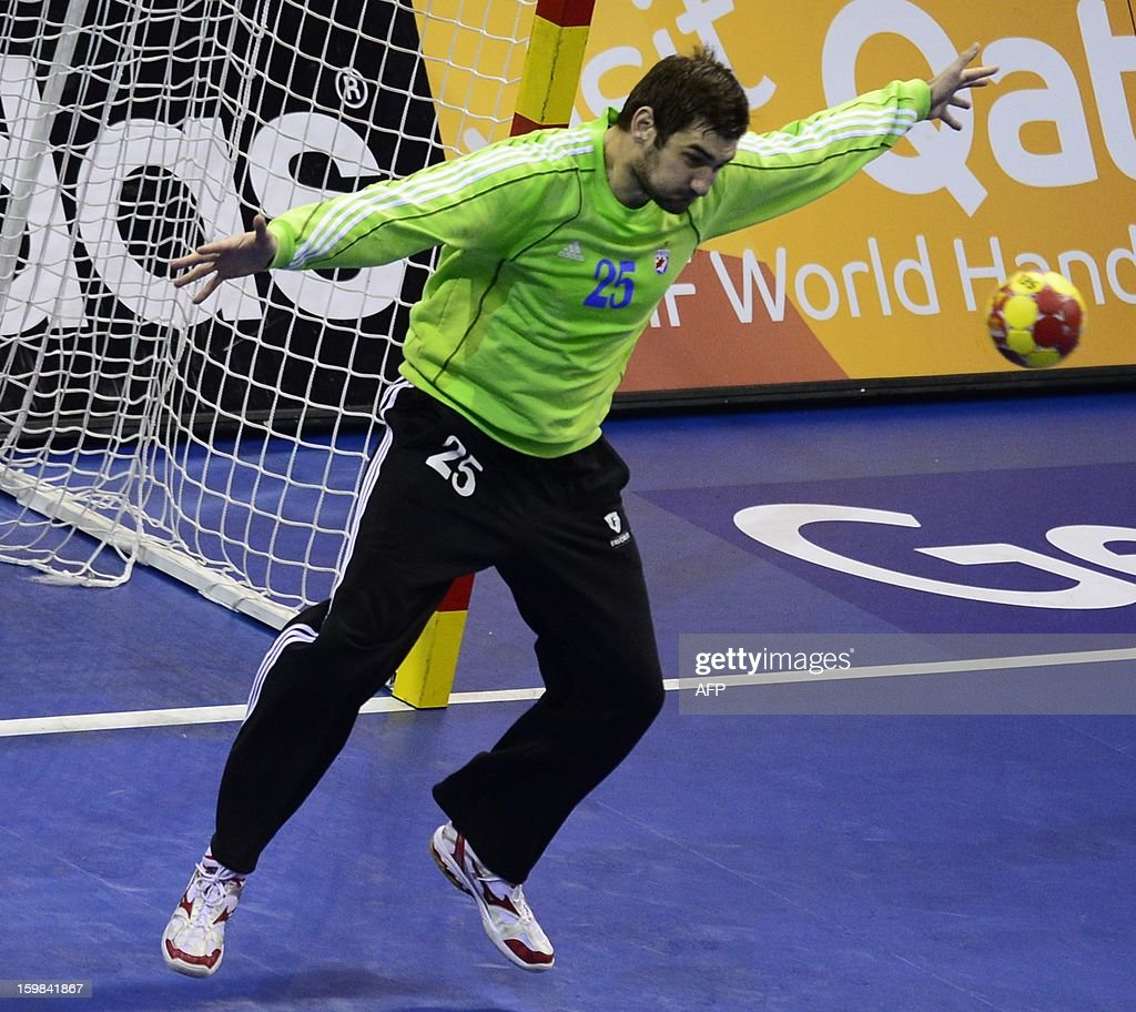 Croatia's goalkeeper Mirko Alilovic tries to stop a shot during the 23rd Men's Handball World Championships round of 16 match Croatia vs Belarus at the Pabellon Principe Felipe in Zaragoza on January 21, 2013.