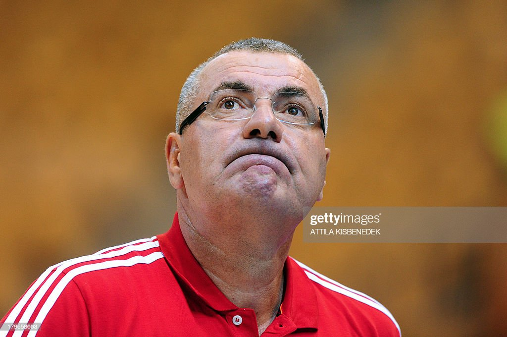 Croatia's head coach Jasmin Repesa reacts on September 5, 2013 during a EuroBasket 2013 championships group C qualification match against Georgia in Celje.