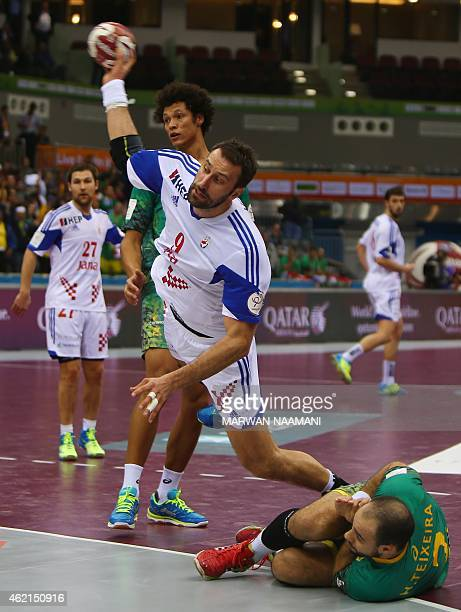 Croatia's Igor Vori attempts a shot on goal during the 24th Men's Handball World Championships Eighth Final EF7 match between Croatia and Brazil at...