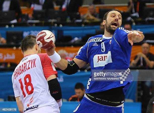 Croatia's Igor Vori attempts a shot on goal during the 24th Men's Handball World Championships quarterfinals match between Poland and Croatia at the...