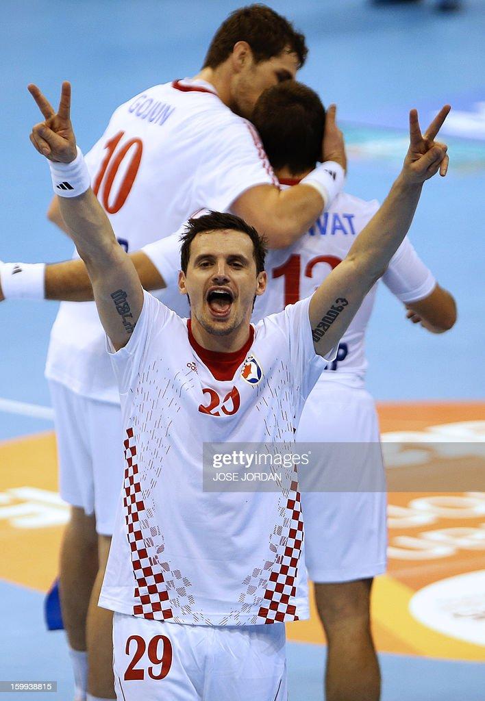 Croatia's Ivan Ninecevic celebrates at the end of the 23rd Men's Handball World Championships quarterfinal match France vs Croatia at the Pabellon...