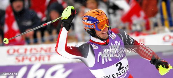 Croatia's Ivica Kostelic celebrates his 3rd place after competing in the men's slalom in the Men's slalom race at the FIS alpine skiing World Cup...