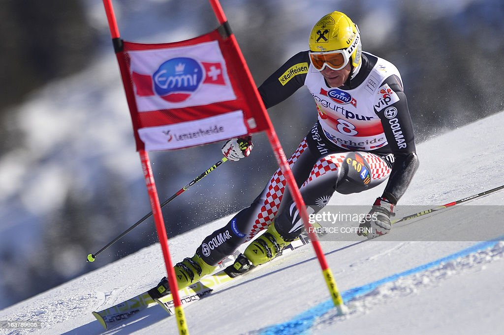 Croatia's Ivica Kostelic competes during the Men Giant Slalom race at the Alpine ski World Cup finals on March 16, 2013 in Lenzerheide.