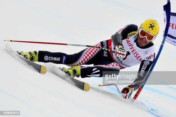 Croatia's Ivica Kostelic competes during the Men Super G at the Alpine ski World Cup finals on March 14 2013 in Lenzerheide AFP PHOTO / FABRICE...