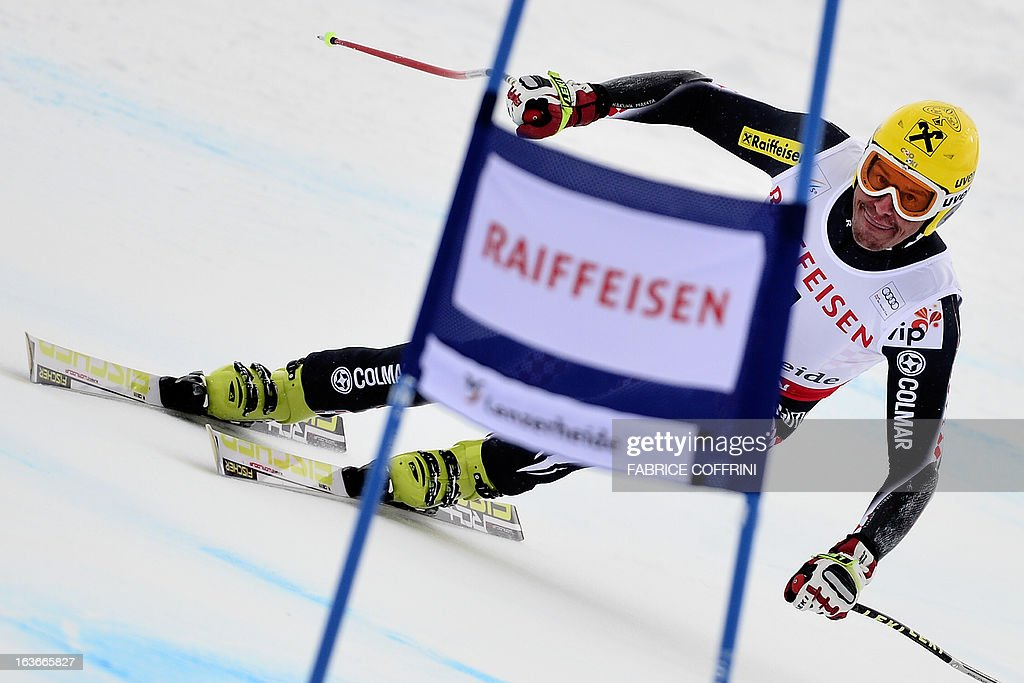 Croatia's Ivica Kostelic competes during the Men Super G, at the Alpine ski World Cup finals on March 14, 2013 in Lenzerheide.