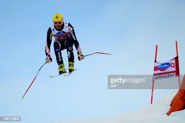 Croatia's Ivica Kostelic competes during the men's World Cup Downhill ski race on January 19 in Wengen AFP PHOTO / OLIVIER MORIN