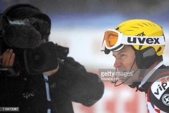 Croatia's Ivica Kostelic looks on after the Men's Slalom race's first run in the Alpine Ski World Cup finals on March 19 2011 in Lenzerheide AFP...