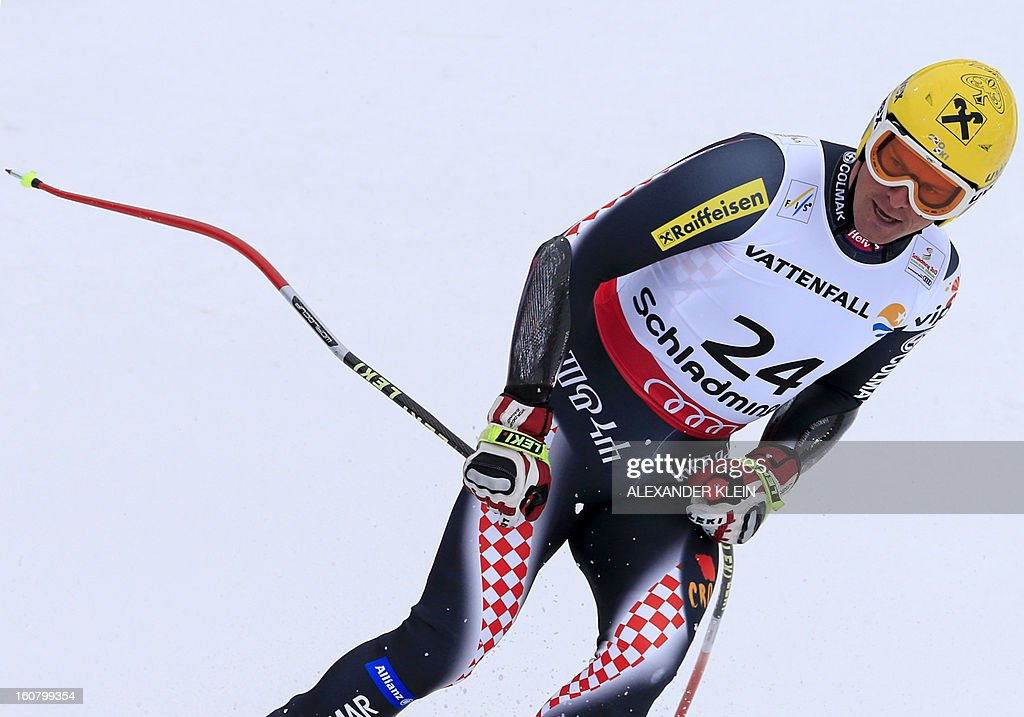 Croatia's Ivica Kostelic reacts after competing during the men's Super-G event of the 2013 Ski World Championships in Schladming, Austria on February 6, 2013.