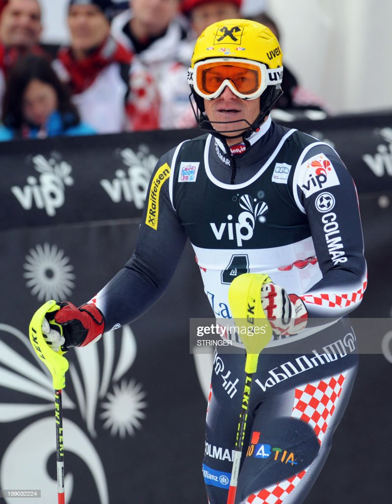 Croatia's Ivica Kostelic reacts after crossing the finish line during the men's FIS slalom competition race in Sljeme, near Zagreb, on January 6, 2013. AFP PHOTO / STRINGER