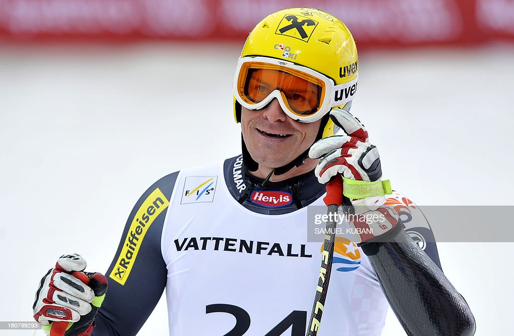 Croatia's Ivica Kostelic reacts at finish line during the men's Super-G event of the 2013 Ski World Championships in Schladming, Austria on February 6, 2013.