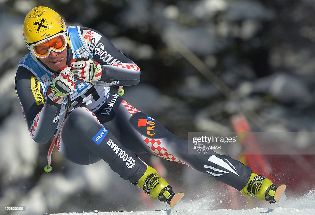 Croatia's Ivica Kostelic skis during the downhill practice for the Alpine Skiing World Cup in Lake Louise, Canada on November 22, 2012.
