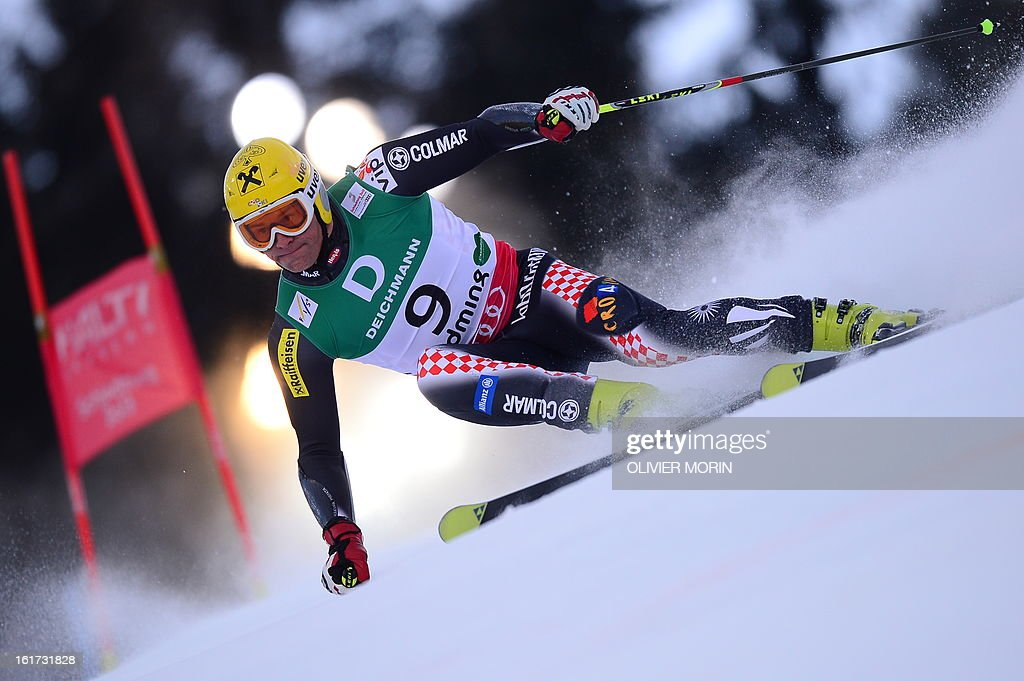 Croatia's Ivica Kostelic skis during the first run of the men's Giant slalom at the 2013 Ski World Championships in Schladming, Austria on February 15, 2013.