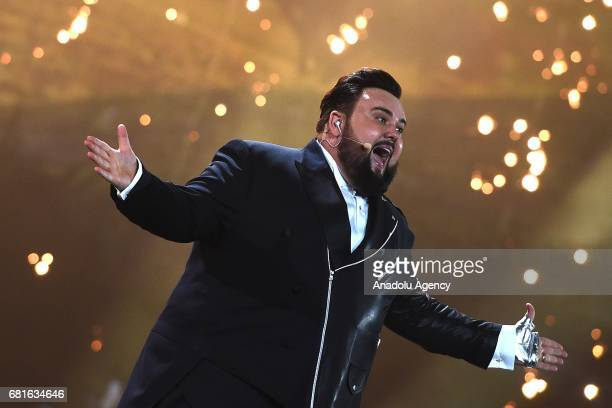 Croatia's Jacques Houdek perform the song 'My friend' during the second semifinal dress rehearsal of Eurovision Song Contest 2017 at the...