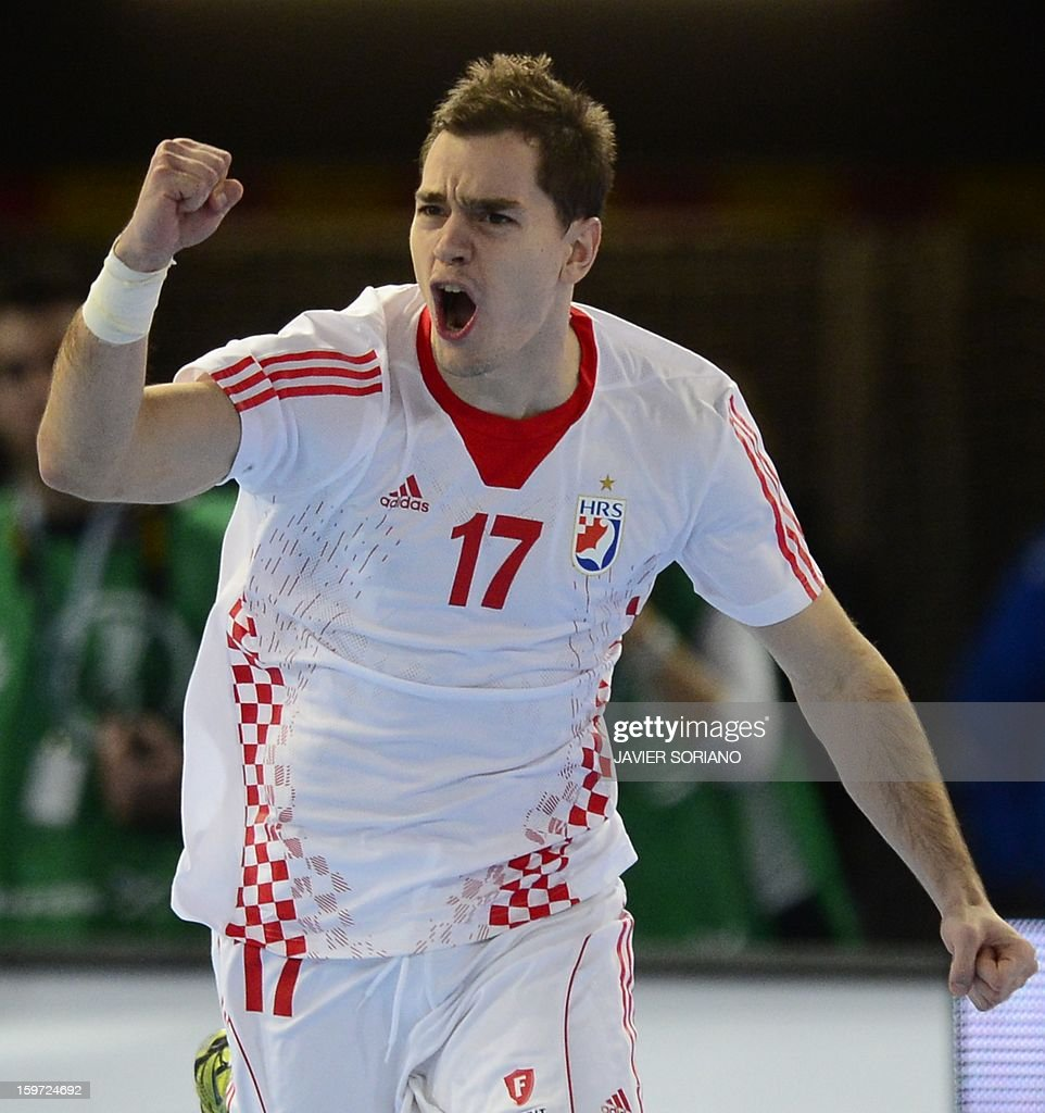 Croatia's left wing Lovo Sprem celebrates after scoring a goal during the 23rd Men's Handball World Championships preliminary round Group D match Spain vs Croatia at the Caja Magica in Madrid on January 19, 2013.