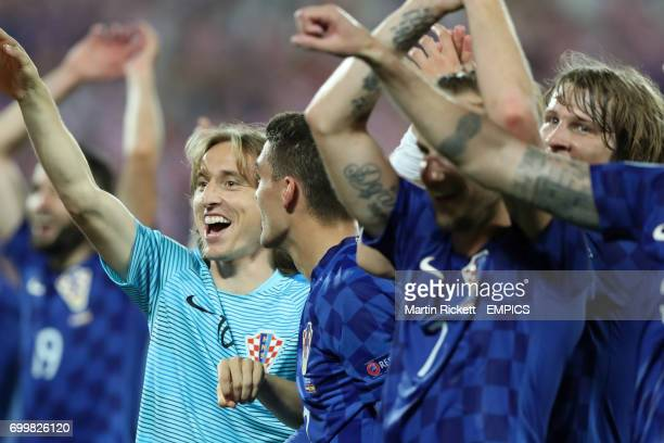 Croatia's Luka Modric celebrates after the final whistle