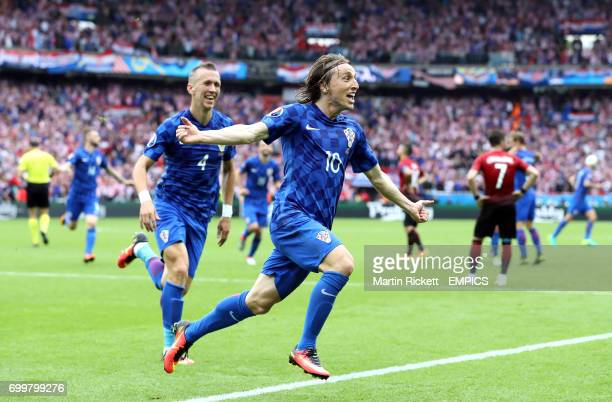 Croatia's Luka Modric celebrates scoring his sides first goal of the game