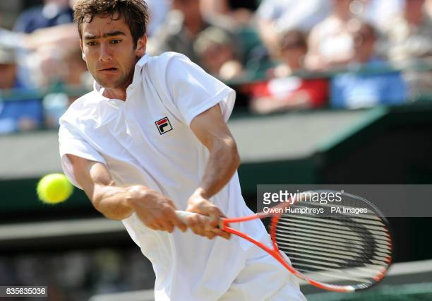 Croatia's Marin Cilic in action against Germany's Tommy Haas during the 2009 Wimbledon Championships at the All England Lawn Tennis and Croquet Club...