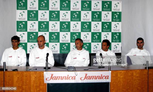 Croatia's Marin Cilic Ivan Ljubicic Lovro Zovko and Roko Karanusic during a press conference at Wimbledon London