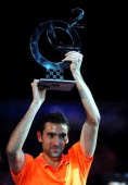 Croatia's Marin Cilic poses with the trophy after defeating Germany's Tommy Haas in their final match of the Croatian ATP PBZ Indoors tennis...