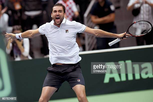 Croatia's Marin Cilic reacts after winning against France's Richard Gasquet during the Davis Cup World Group semifinal singles tennis match between...