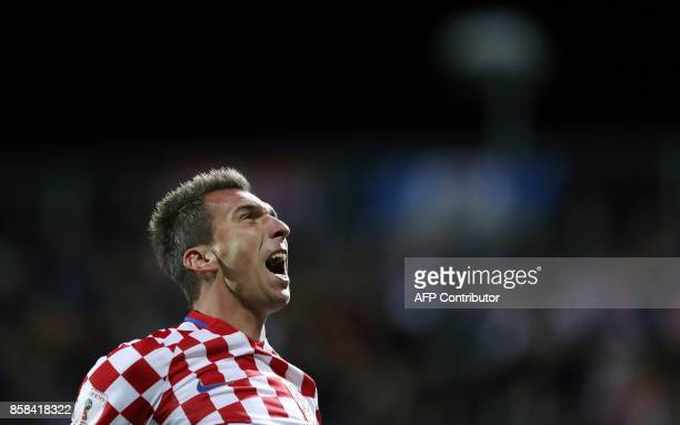Croatia's Mario Mandzukic celebrates scoring his team's first goal during the FIFA World Cup 2018 qualification football match between Croatia and...