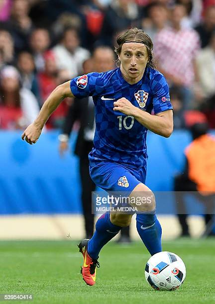 Croatia's midfielder Luka Modric in action during the Euro 2016 group D football match between Turkey and Croatia at the Parc des Princes in Paris on...