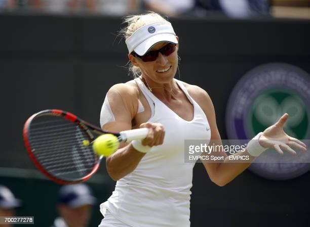 Croatia's Mirjana LucicBaroni in action against Belarus' Victoria Azarenka