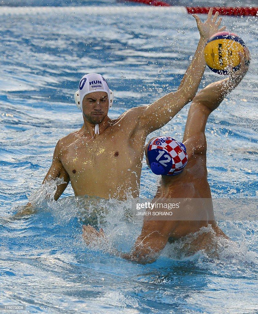 Croatia's Paulo Obradovic vies with Hungary's Denes Varga during the men's water polo semifinal match Hungary vs Croatia at the FINA World...