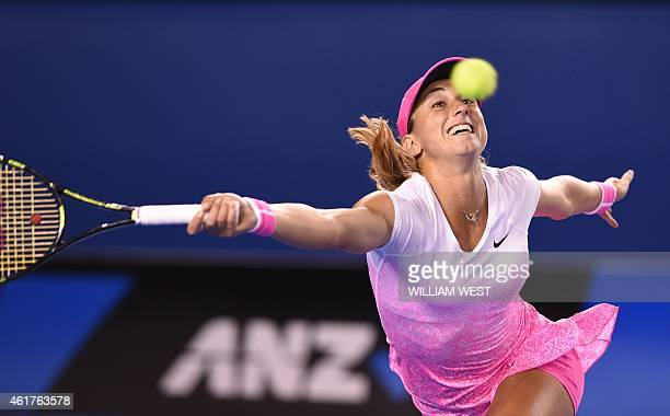 Croatia's Petra Martic plays a shot during her women's singles match against Russia's Maria Sharapova on day one of the 2015 Australian Open tennis...