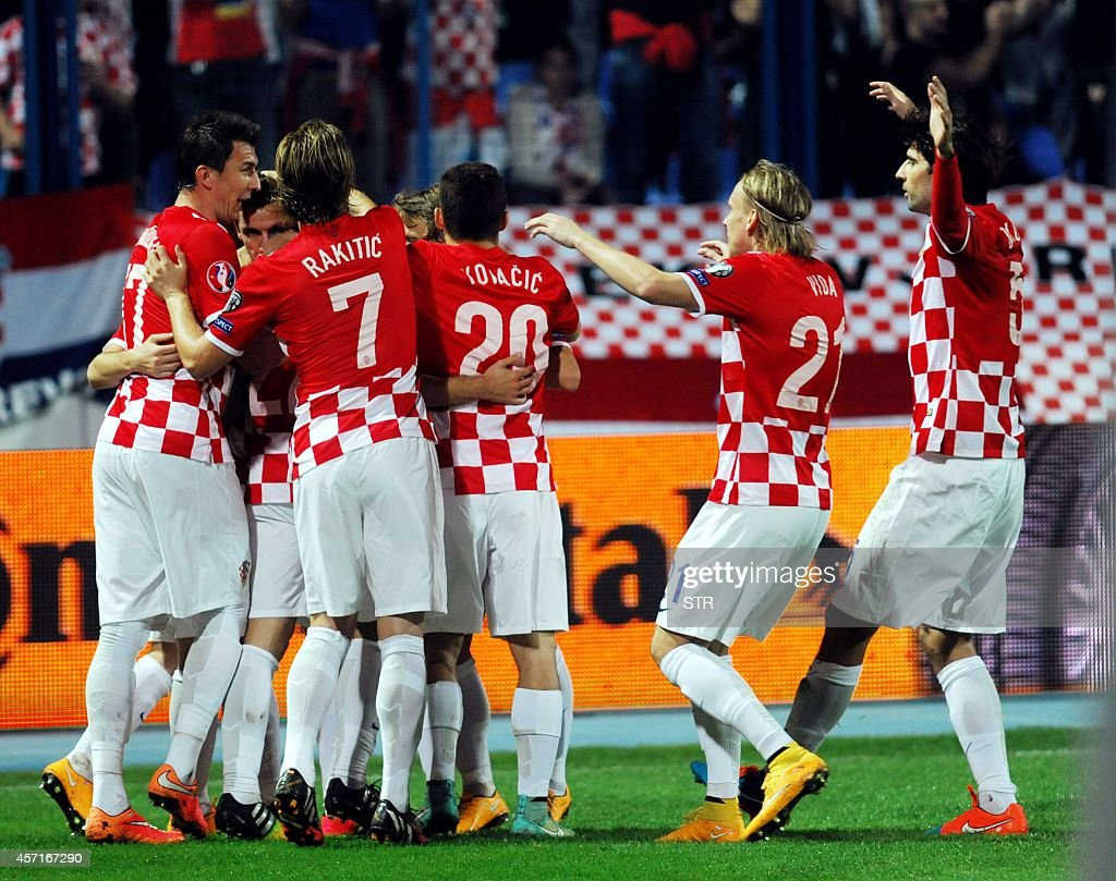 Croatia's players celebrate after scoring a goal during the Euro 2016 group H qualifying football match Croatia vs Azerbaijan at Gradskivrt stadium...