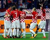 Croatia's players celebrate after scoring a goal during the Euro 2016 group H qualifying football match Croatia vs Azerbaijan at Gradskivrt stadium...