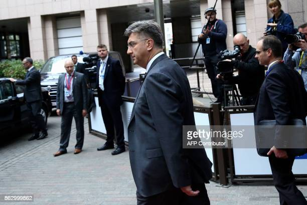 Croatia's Prime minister Andrej Plenkovic arrives at a meeting of the European Peoples Party in Brussels on October 19 2017 on the side of the first...