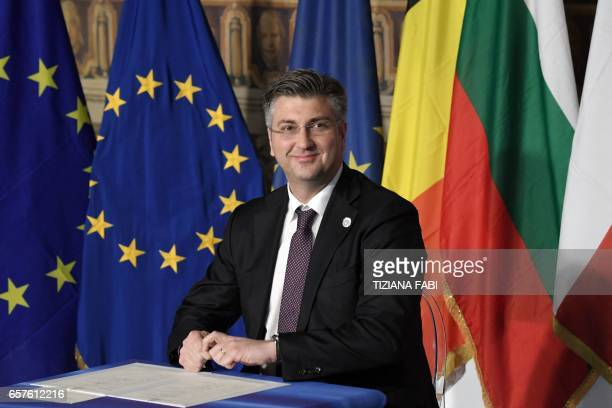 Croatia's prime Minister Andrej Plenkovic signs the new Rome declaration with leaders of 27 European Union countries special during a summit of EU...