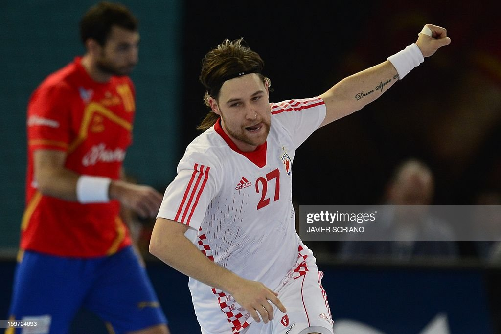 Croatia's right wing Ivan Cupic celebrates after scoring a goal during the 23rd Men's Handball World Championships preliminary round Group D match Spain vs Croatia at the Caja Magica in Madrid on January 19, 2013.