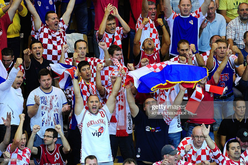 Croatia's supporters cheer during the Eurobasket 2013 championships qualifying basketball match Croatia vs Czech Republic in Celje on September 9...