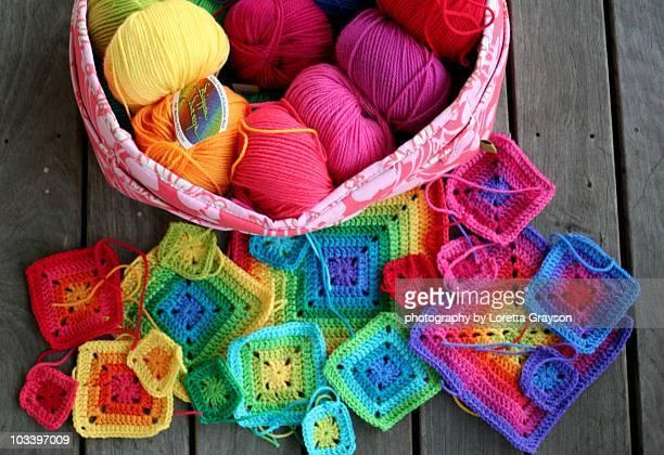 Crochet Rainbow Granny Squares