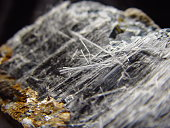 """Example of asbestiform riebeckite ore, also known as crocidolite (or """"blue asbestos""""), one of six mineral types currently regulated as asbestos."""