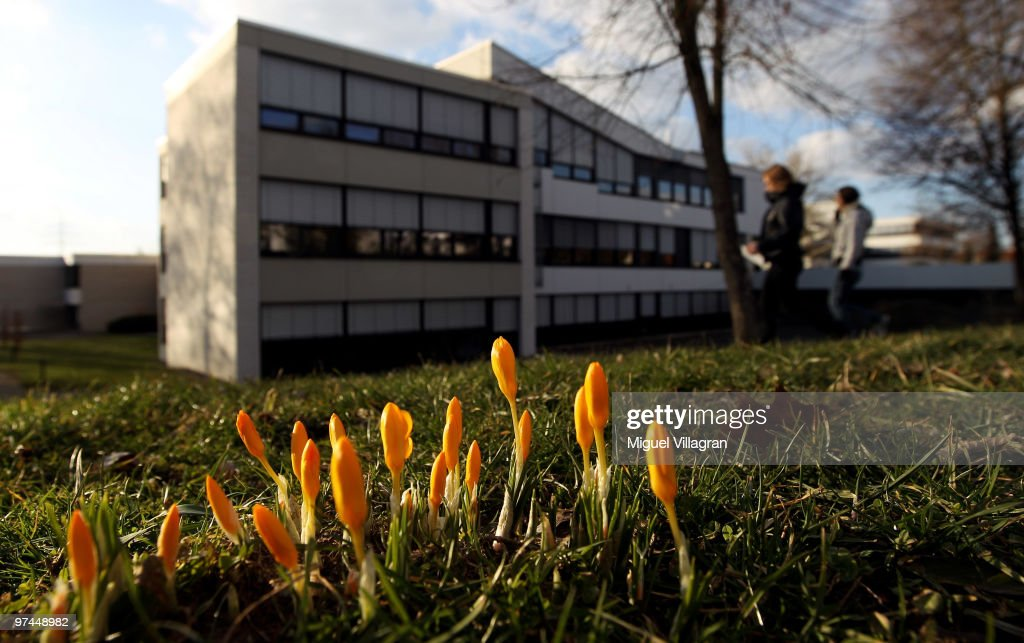 Crocuses flourish in front of the Albertville School on March 4, 2010 in Winnenden, Germany. Tim Kretschmer opened fire on teachers and pupils at his former school on March 11, 2009, killing 15 and leaving many more injured. Kretschmer fled the scene and shot himself dead after being cornered by police.