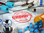 Crohn´s disease diagnosis. Stamp, stethoscope, syringe, blood test and pills on the clipboard with medical report. 3d illustration