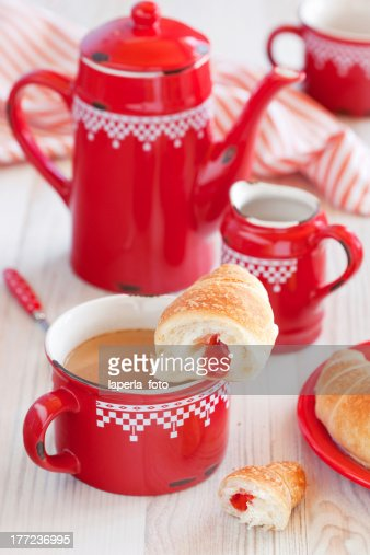 Croissant and coffee : Stock Photo