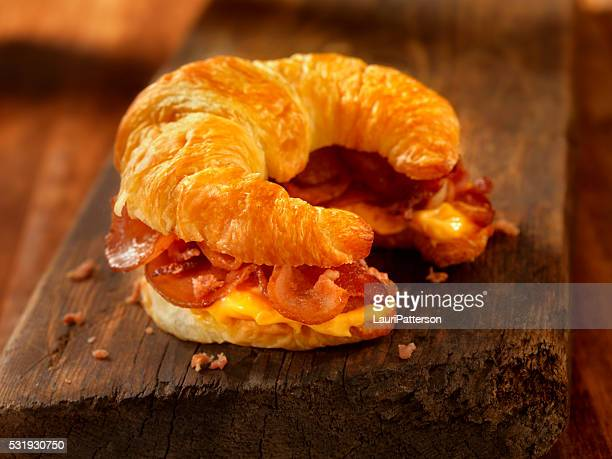 Croissant Breakfast Sandwich with Bacon and Cheese
