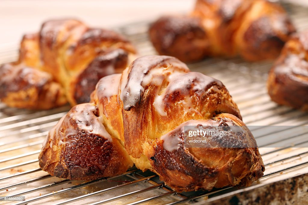 Croissant stuffed with poppy seeds : Stock Photo