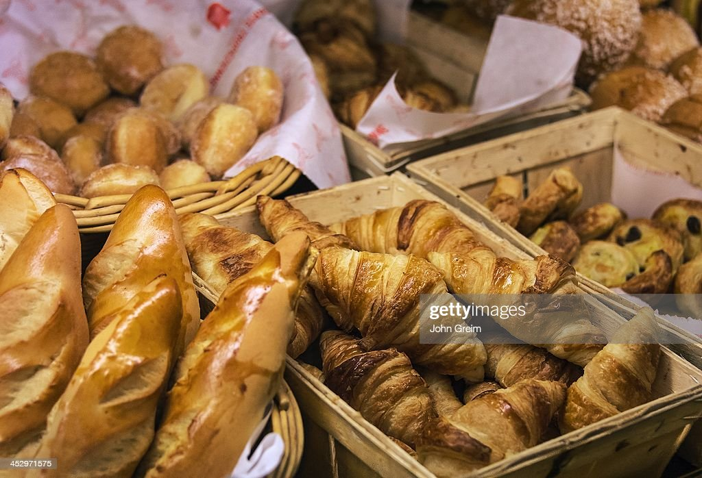 Croissants and bread in a French pastry shop.