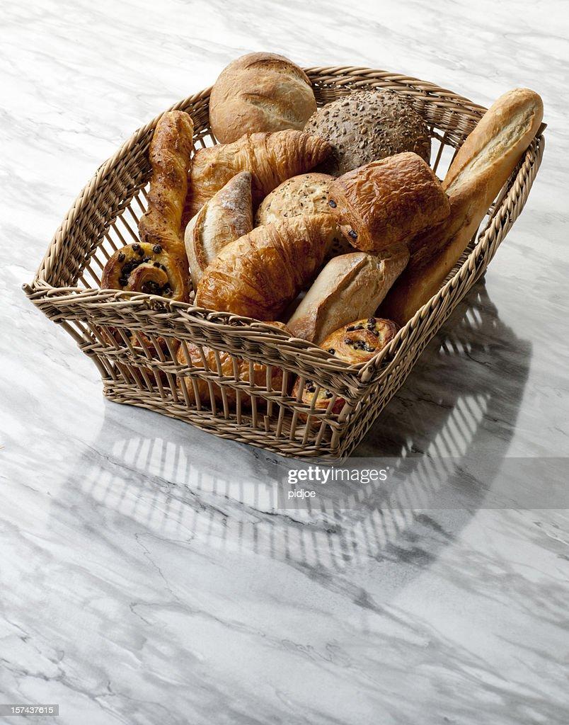 Croissants, baguette, Danish, buns in basket XXL