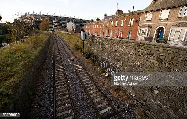 Croke Park Stadium in Dublin with a Dart train line running by