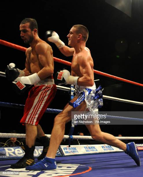 Cromer Super Featherweight Liam Walsh against Dewsbury's Youseff Al Hamidi at the London ExCeL Arena