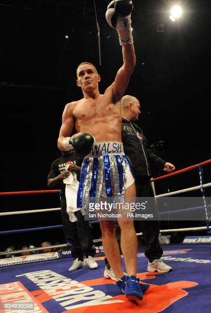 Cromer Super Featherweight Liam Walsh celebrates victory over Dewsbury's Youseff Al Hamidi at the London ExCeL Arena